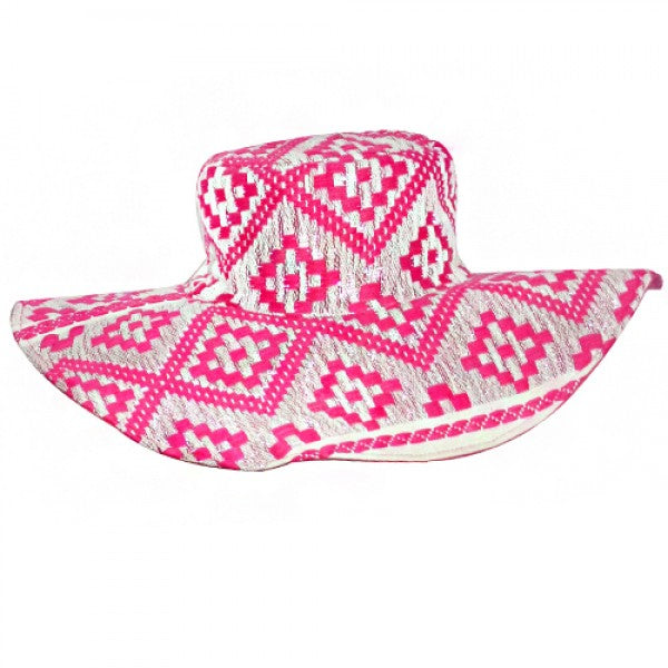 Pink Jacquard Bohemian Hat - America and Beyond