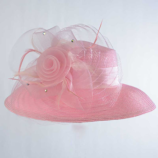 Flower with Pleats Down Brim Church Hat, Pink - KaKyCO