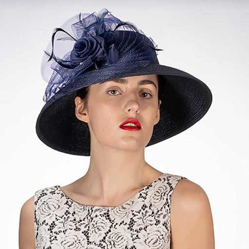 Flower with Pleats Down Brim Church Hat, Ice Blue - KaKyCO