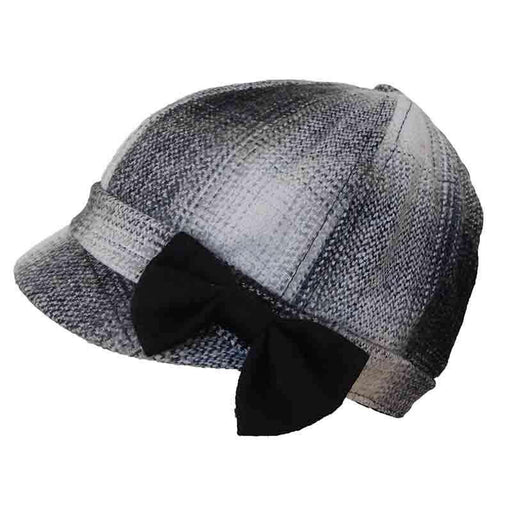 Plaid Jockey Cap with Bow by Jeanne Simmons Hats
