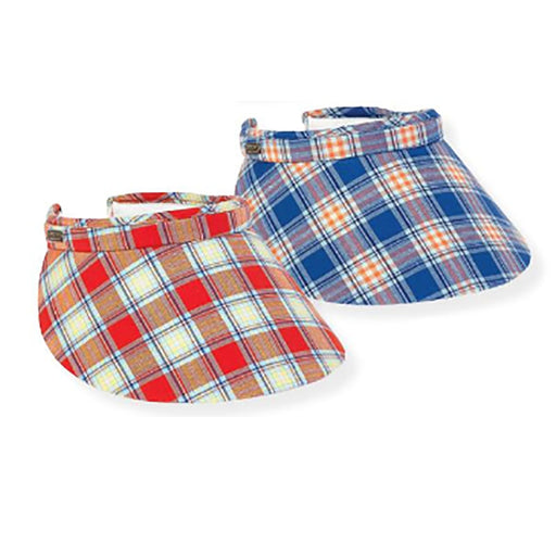 Plaid Large Bill Cotton Clip-On Sun Visor - Sun 'N' Sand