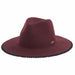 pom-pom trimmed brim wool felt safari hat for women burgundy