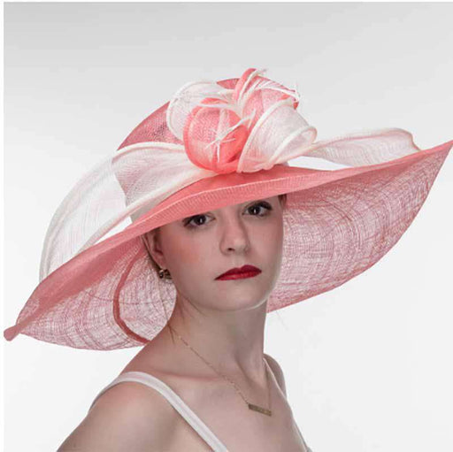 Porcelain Rose and Ivory Two Tone Large Brim Sinamay Hat - KaKyCO