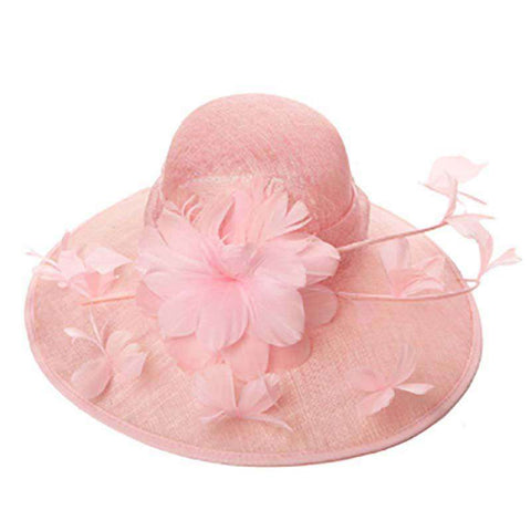 Sinamay Hat with Long Stem Flowers