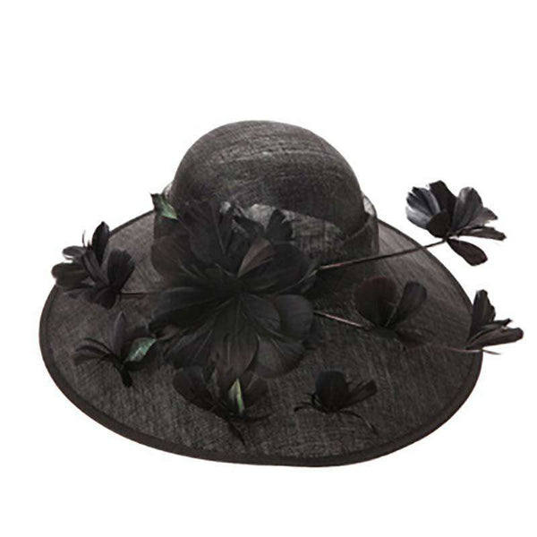 Sinamay Hat With Quill And Butterfly Feathers And Flowers