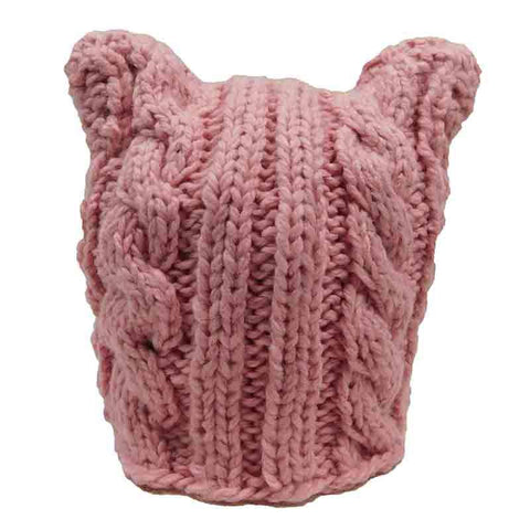 Pink Pussyhat Cable Knit Beanie by JSA