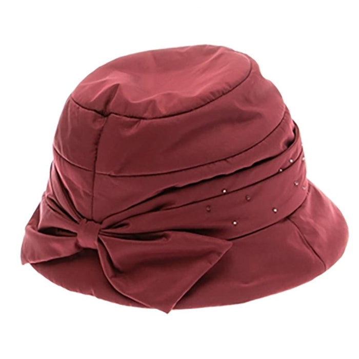 Quilted Cloche Hat with Bow and Tiny Bead Detail by DNMC