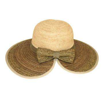Two Tone Raffia Beach Hat with Bow