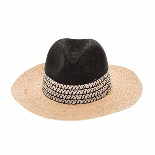 raffia brim safari hat women black and natural color boardwalk style