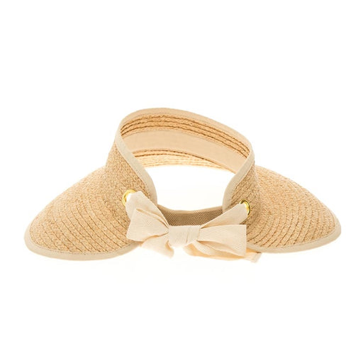 Natural Raffia Wrap Around Sun Visor Hat - Boardwalk Style