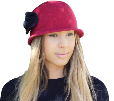 Red Cloche with Black Rose - SetarTrading Hats