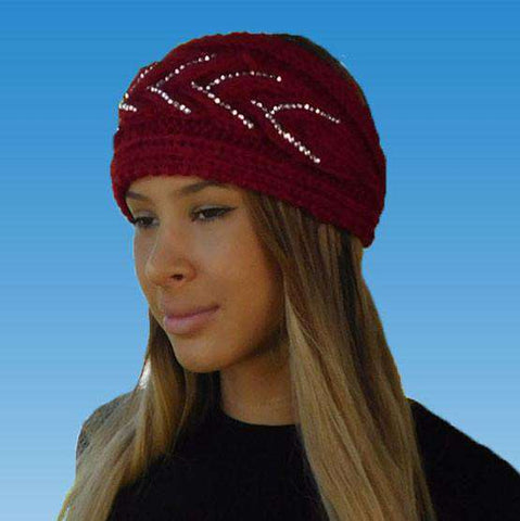 Knit Earwarmer Headband with Rhinestone Detail
