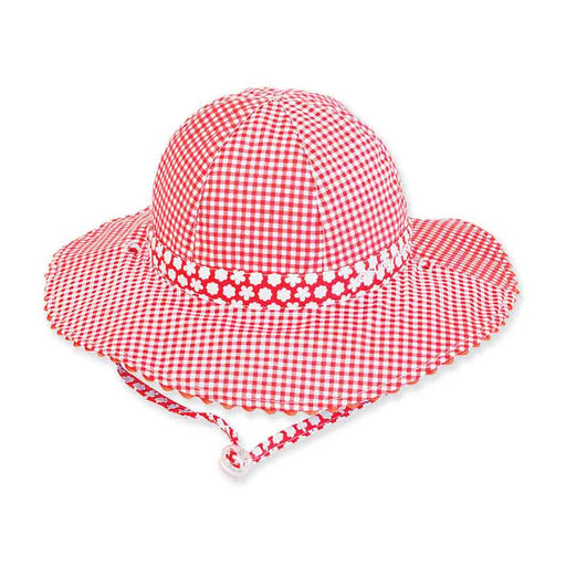 Girls Reversible Red Checkered Cotton Sun Hat - Sunny Dayz™