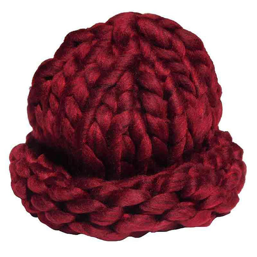 Women's Chunky Rib-Knit Beanie by JSA - Deep Red