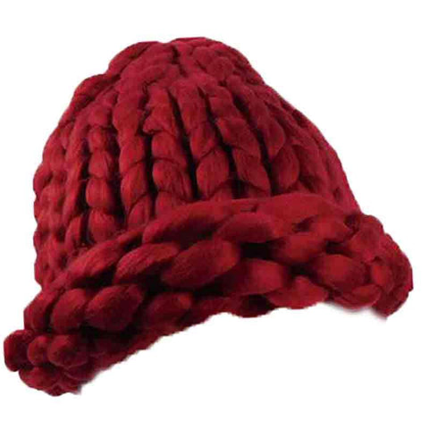 Chunky Rib-Knit Beanie - Red, Winter White, Grey
