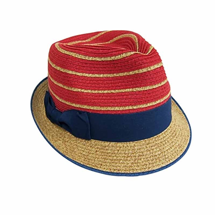 red white and blue patriotic striped fedora men women straw red crown blue brim