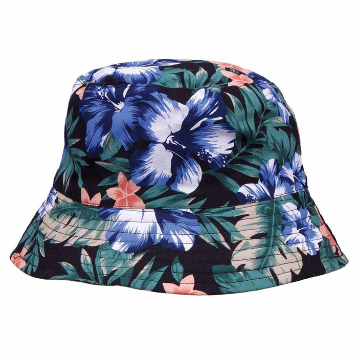 Reversible Floral Print-Solid Color Bucket Hat - Karen Keith Hats