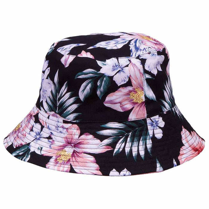 Reversible Floral Print-Solid Color Bucket Hat, S-XL Sizes - Karen Keith Hats