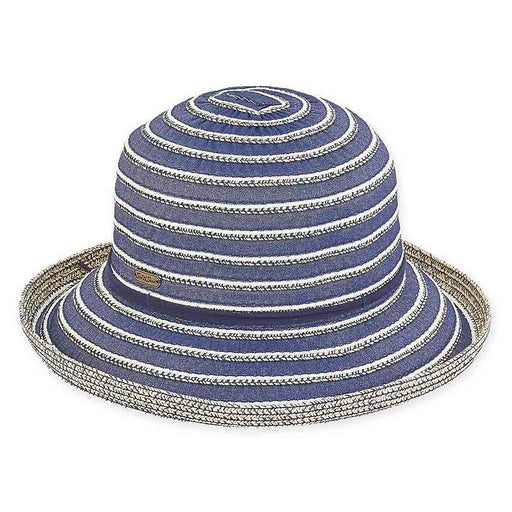 Denim Ribbon and Braid Stipe Up Brim Sun Hat - Sun 'N' Sand Hats