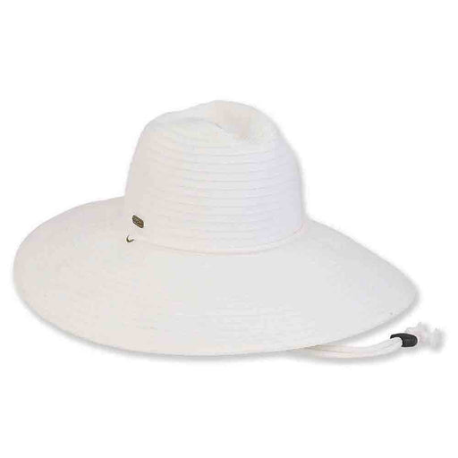 Wide Brim Ribbon Safari Hat with Chin Cord - Sun 'N' Sand Hats