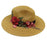 Jeanne Simmons rose applique safari fedora straw sun hat toast top view