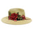 Jeanne Simmons rose applique safari fedora straw sun hat tan sideview