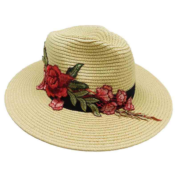 Jeanne Simmons rose applique safari fedora straw sun hat natural color