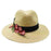 Jeanne Simmons rose applique safari fedora straw sun hat natural front view
