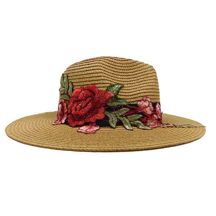 Jeanne Simmons rose applique safari fedora straw sun hat beige sideview