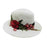 Jeanne Simmons rose applique safari fedora straw sun hat white