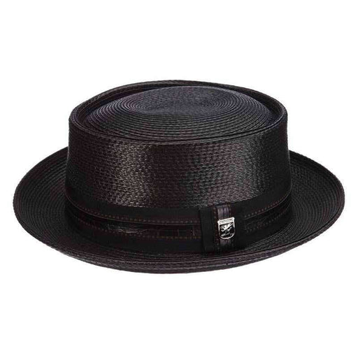 Shiny Polybraid Porkpie Hat - Stacy Adams