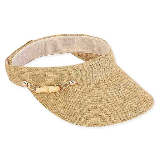 Savoy Braid Sun Visor with Bamboo Accent - Sun 'n' Sand