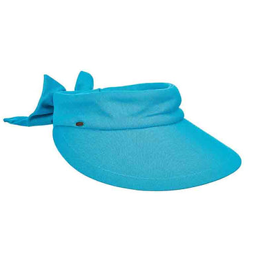 "Large resort sun visor with 4.5"" peak.  Full, round shape the cover face and ears.  Wide, soft band, 1.5"" with Velcro® closure and large bow accent.  UPF 50+ UV protection visor.  One size.  100% cotton."