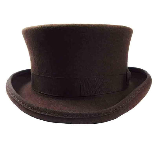 Classic Short Brown Wool Felt Top Hat by JSA for Men - SetarTrading Hats