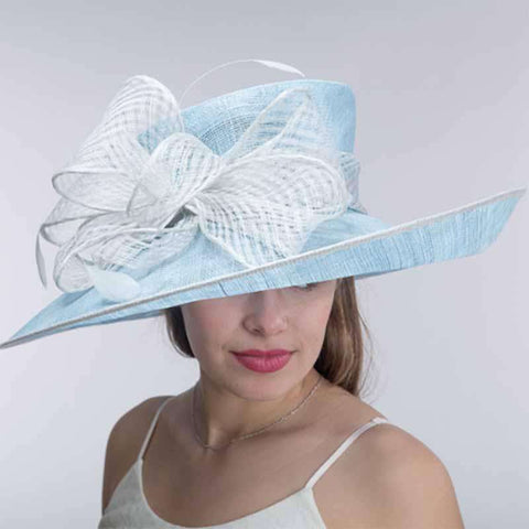 Sky Blue and Silver Eyelet Bow Tie Turned Up Brim Sinamay Hat - KaKyCO 4299ddbe7a99