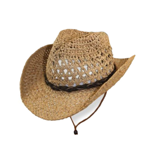 Small Heads Open Weave Straw Cowboy Hat with Chin Cord - Jeanne Simmons Hats