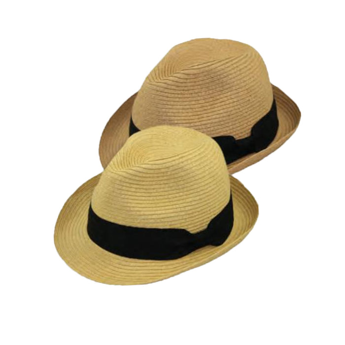 Small Heads Straw Fedora with Black Band - Jeanne Simmons Hats