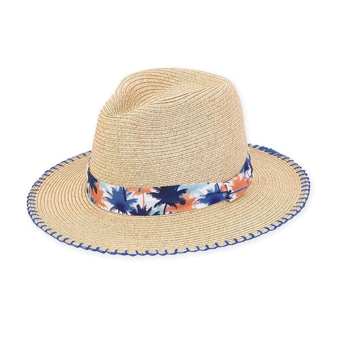 Small Heads Straw Safari Hat with Palm Tree Band - Sunny Dayz™