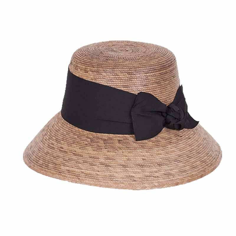 somerset handwoven palm leaf cloche hat for women wide black ribbon tula hats