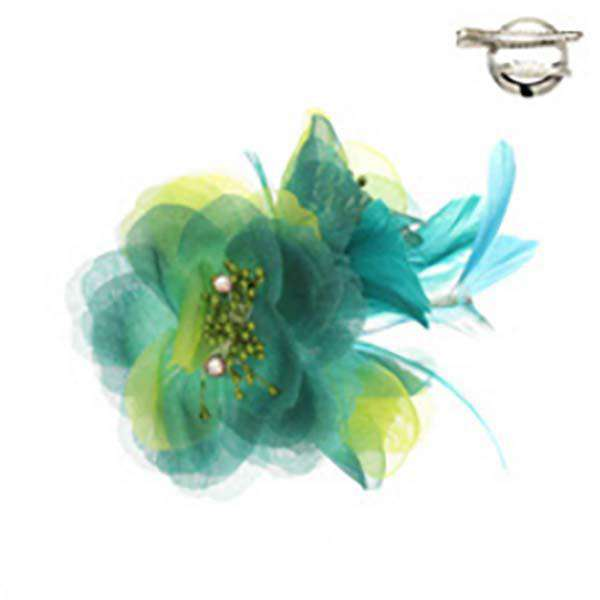 Triple Flower and Feather Brooch Pin - SetarTrading Hats