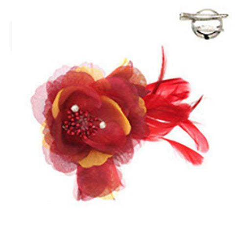 Triple Flower and Feather Brooch Pin