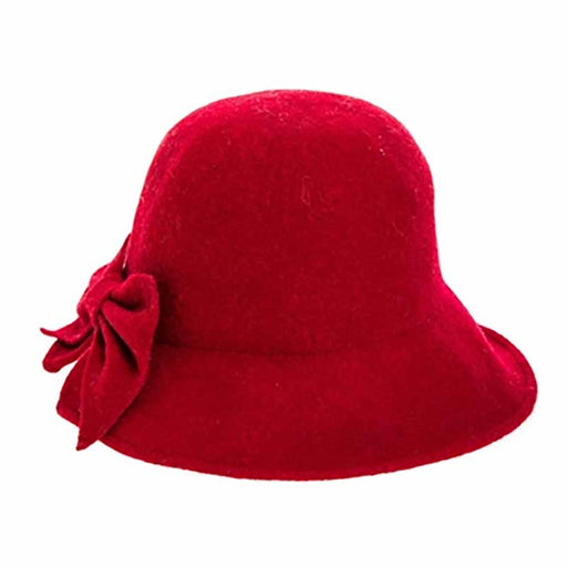Split Brim Wool Cloche Hat with Bow Ponytail hat - Boardwalk Style