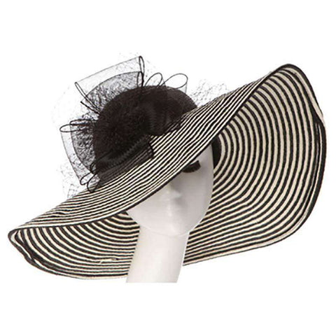 Large Brim Floppy Hat with Lace Bow