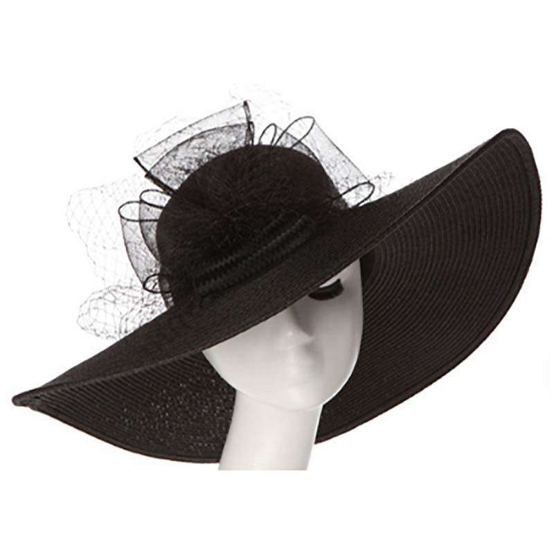 Large Brim Floppy Hat with Lace Bow - SetarTrading Hats