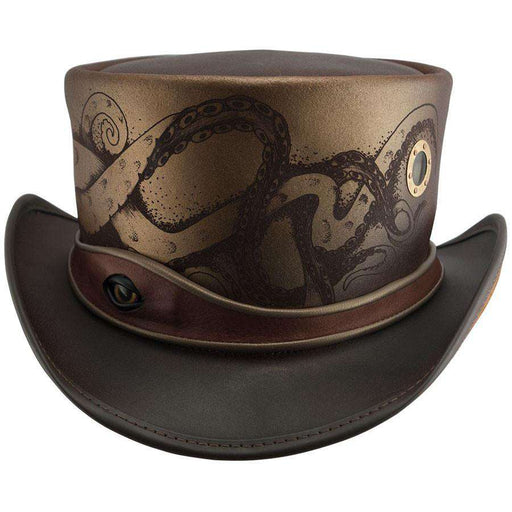 Kraken Leather Steampunk Top Hat - Brown - SetarTrading Hats
