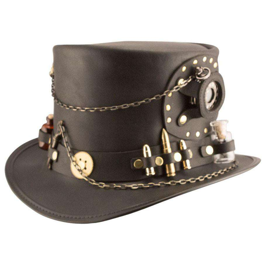 Time Port Leather Steampunk Top Hat - Black - SetarTrading Hats