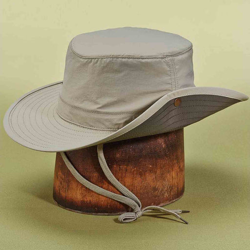 stetson microfiber boonie hat with chin strap khaki