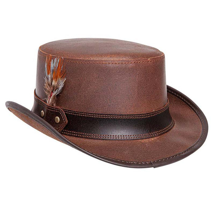 Stoker Leather Top Hat with Feather, Brown - Steampunk Hatter
