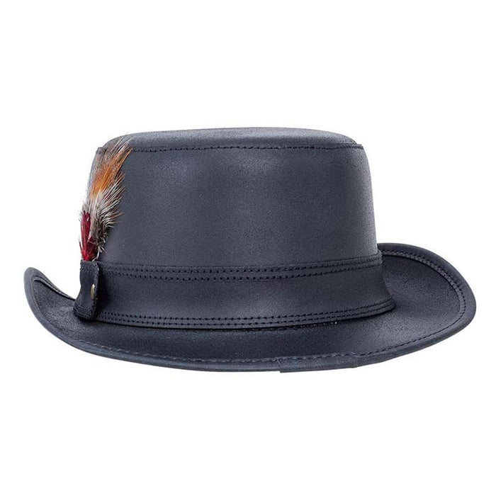 Stoker Leather Top Hat with Feather, Black - Steampunk Hatter
