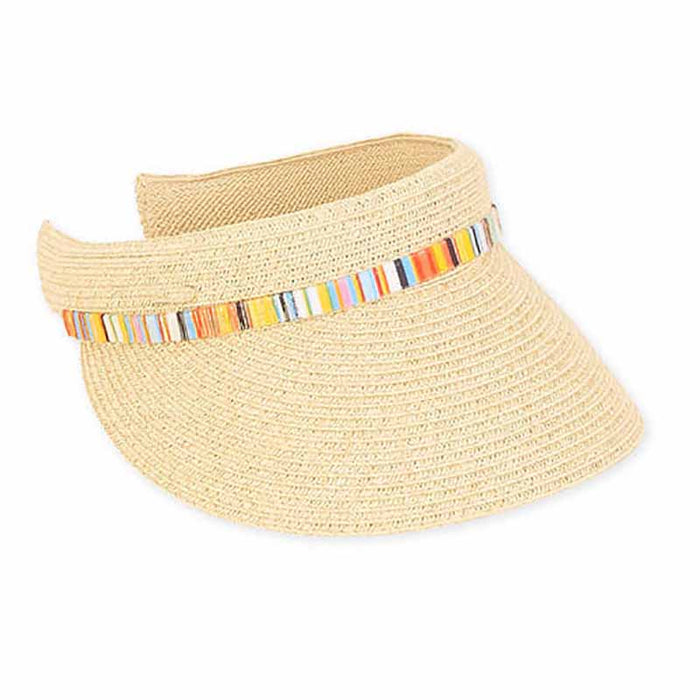 Straw Clip On Sun Visor with Shimmery Band - Boardwalk Style